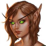 Аватар Девушка - эльф со светлыми волосами и зелеными глазами / арт на игру World of Warcraft, by JuneJenssen
