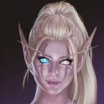 Аватар Девушка - эльф со светлыми волосами и шрамом на лице / арт на игру World of Warcraft, by JuneJenssen