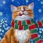 Аватар Кот в шарфе под падающим снегом