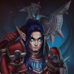 Аватар Мужчина - эльф рыцарь смерти с Темной Скорбью за спиной / арт на игру World of Warcraft, by JuneJenssen