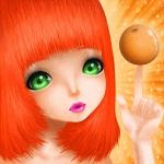 Аватар Девушка с оранжевыми волосами, зелеными глазами и апельсином на пальчике, by Saccstry