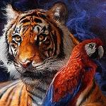 Аватар Тигр с попугаем рядом
