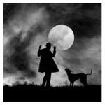 99px.ru аватар Силуэт парня с собакой на фоне ночного неба с луной, фотограф Hengki Lee