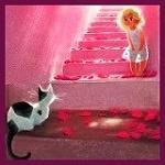 Аватар Ребенок стоит на ступеньках перед котенком