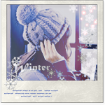 Аватар Девушка, поправляя рукой вязаную шапку, смотрит в окно на падающий снег (Winter / зима)