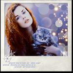 Аватар Рыжеволосая девушка с котом на руках на фоне ярких бликов