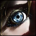 Аватар Голубой глаз девушки с золотыми ресницами