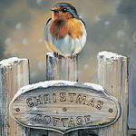 Аватар Птичка сидит на деревянном заборе, (christmas cottage / Рождественский коттедж)