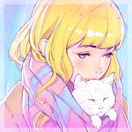 Аватар Светловолосая девушка с белой кошкой, by Илья Кувшинов