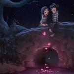 Аватар Мальчик с девочкой сидят на ночном мосту, смотря на светящихся мотыльков у пруда, by Zac Retz