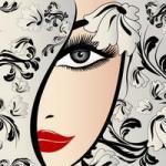 Аватар Лицо девушки, закрытое цветной тканью, в волосах цветок