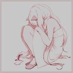 Аватар Грустная Вокалоид СиЮ / Vocaloid SeeU сидит закрыв лицо и рисует сердечко розовым мелком