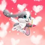 Аватар Заяц -ангел - амур стреляет из лука стрелой с сердечком на фоне красного неба с облаками в виде сердечек