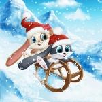 Аватар Зайцы снегурочка и дед мороз катятся на санях с горного снежного склона