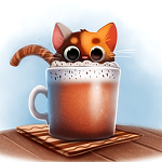 Аватар Котенок выглядывает с чашки, by Cryptid-Creation