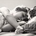 Аватар Девочка спит рядом с кошкой