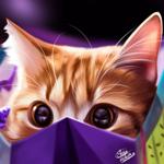 Аватар Рыженький котик выглядывает с пакета, by Khushiart