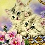 Аватар Нарисованные котята в корзинке любопытно смотрят
