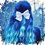 Аватар Девушка с белым бантиком на синих волосах