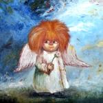 Аватар Домовенок ангел с одуванчиком в руке
