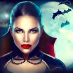 Аватар Девушка-вампир на фоне луны и летучих мышей