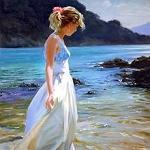 Аватар Девушка в белом платье стоит у моря