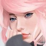 Аватар Задумчивая девушка с розовыми волосами, by Jane Nane