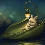 Аватар Кролик спит в лодочке-листочке с фонарем, by Veronica Minozzi