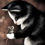 Аватар Кот смотрит на мышку, by Veronica Minozzi