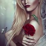 Аватар Девушка с розой в руке и бабочкой