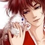 Аватар Химура Кеншин / Himura Kenshin с белой кошкой на плече, персонаж из аниме Самурай Х / Samurai Х / Бродяга Кеншин / Tramp Kenshin