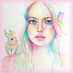 Аватар Девушка с кроликом на плече и с бабочкой на волосах, by Monaparvin