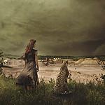 Аватар Девушка и леопард смотрят вдаль, by Robin Macmillan