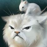 Аватар Белая мышка сидит на голове белого кота