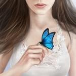 Аватар Девушка с голубой бабочкой на руке, by NImportant