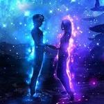Аватар Влюбленные стоят на фоне ночного неба
