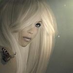 99px.ru аватар Белокурая девушка с бабочкой на плече, by Kelly
