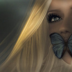 99px.ru аватар Девушка с бабочкой на лице, by Kelly