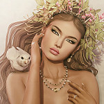 Аватар Девушка с цветами на голове и птицей на плече, by Strawberry Singh