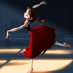 Аватар Девушка в красной юбке в танце, by miacat7