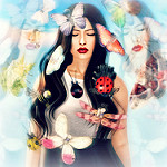 Аватар Девушка в окружении бабочек и божьих коровок