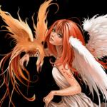 Аватар Рыжеволосая девушка - ангел держит птицу на руке на черном фоне