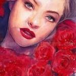 Аватар Девушка с красными розами, by AuroraWienhold