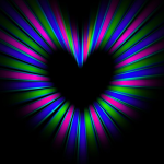 Аватар Разноцветное сердце на черном фоне