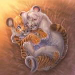 Аватар Белый львенок и тигренок лежат обнявшись, художница Anastasia Korochansckaja