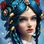 Аватар Девушка с голубыми глазами и голубыми волосами, с украшениями и цветами на волосах