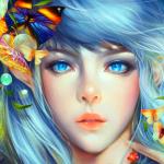 Аватар Голубоглазая эльфийка с бабочками