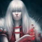 Аватар Девушка с белыми волосами и розовыми цветами над рукой, by exellero