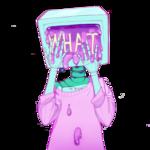 Аватар Бирюзовый робот в розовой кофте, с монитором вместо головы, из экрана которого вытекает розовая жижа (WHAT / ЧТО)