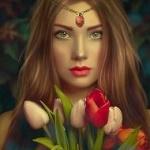 Аватар Девушка с букетом тюльпанов и украшением на лбу, by shiny-shadows-Artо